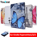 Colorido Caso Capa de Couro PU Para Amazon Kindle PaperWhite1/2/3 E-livros Caso Coque Para Funda Kindle Paperwhite + filme tela HD