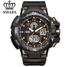 SMAEL męski zegarek sportowy męskie zegarek na rękę LEVED cyfrowy zegarek kwarcowy zegarek na rękę es Top marka luksusowe cyfrowy zegarek męski tanie tanio BOSALLY 24 inch RUBBER Klamra 3Bar 15 mm ROUND 22 mm 42412 Nie pakiet Cyfrowe Zegarki Na Rękę 48 mm Silikon Hardlex Wyświetlacz led