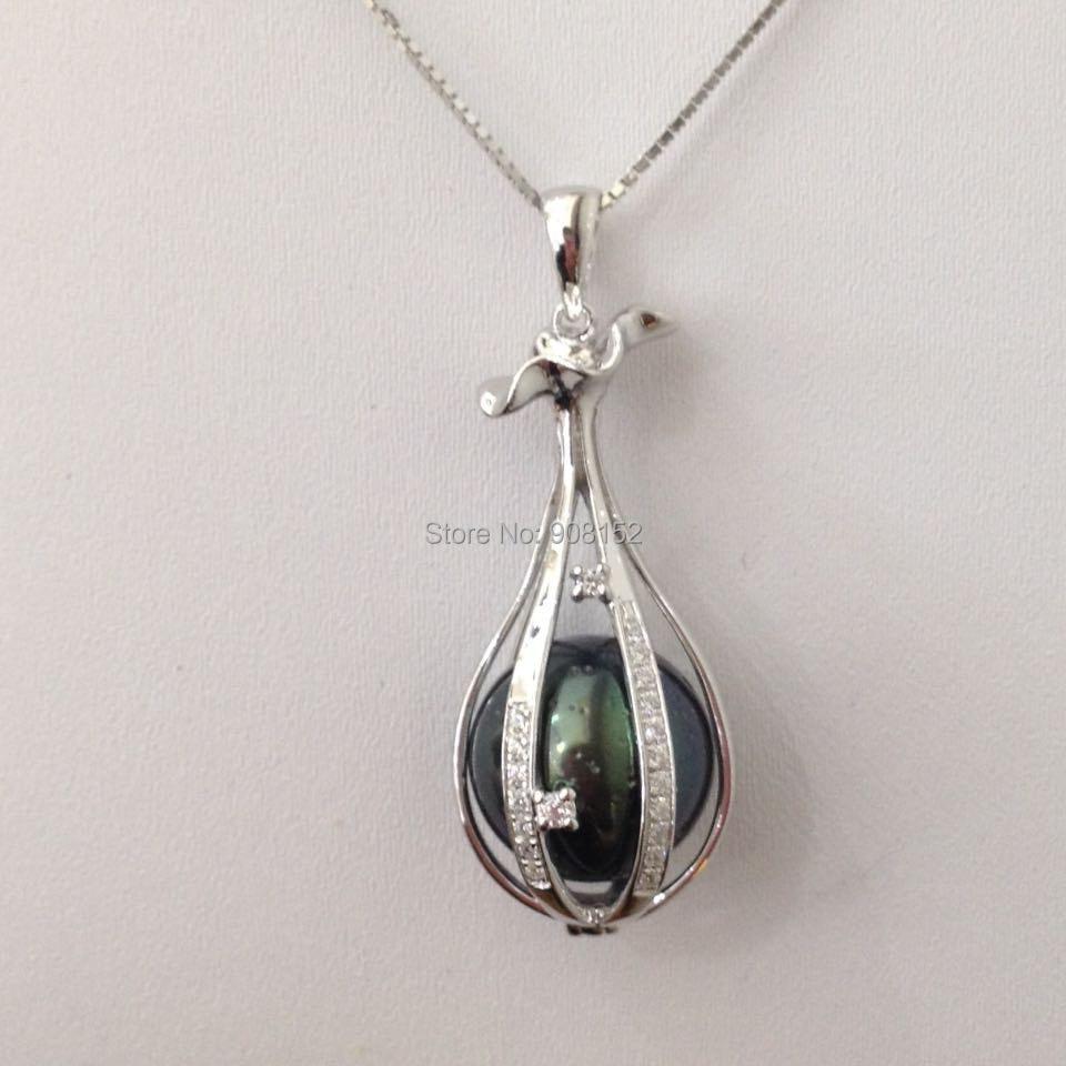 Collier pendentif perle de tahiti ronde parfaite, pendentif Cage médaillon Style fleur Mandala argent 925 avec collier en argent Sterling