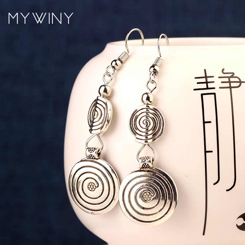 DIY vintage Tibetan style Miao silver metal dangle earrings ,New Chinese wind old fashioned jewelry