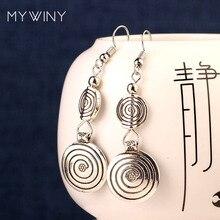 dd54869ba601 DIY vintage estilo tibetano Miao plata metal pendientes nuevo chino viento  de moda de la joyería