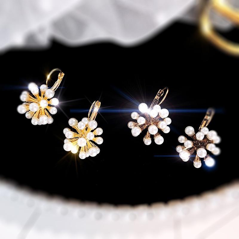 925 Zilveren Naald Legering Europese Amerikaanse Barok Vuurwerk Parel Mode-sieraden Oorbellen Eenvoudige Clip Vrouwen Earring