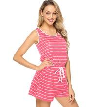 купить Women vintage striped calf-length jumpsuit women sleeveless waist drawstring short playsuit rompers jumpsuit 2019 women vestidos дешево