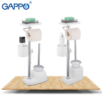 GAPPO Bath Hardware Sets white free standing bathroom toilet brush holders with paper holders toilet shelf bathroom accessories