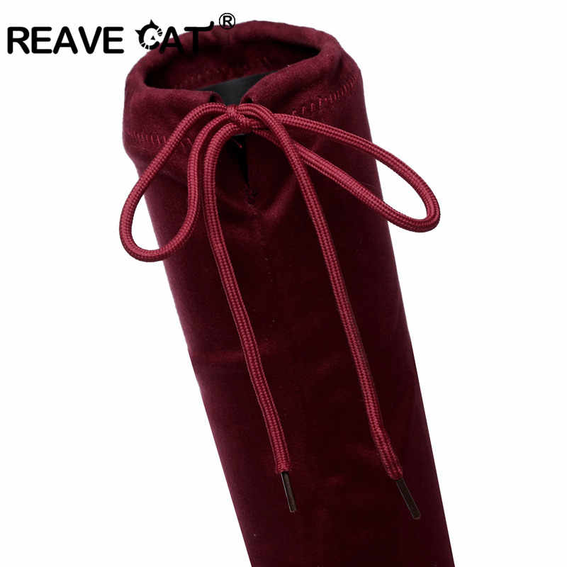 REAVE แมวรองเท้าผู้หญิงใหม่ฤดูใบไม้ร่วงฤดูหนาวผู้หญิง Slim Flat รองเท้าส้นสูงสีดำรองเท้าเข่าต้นขายืดผ้า RL3554