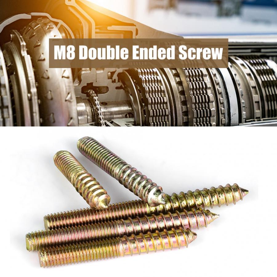 60Pcs/set M8 Dowel Screws Woodworking Furniture Connector Double Ended Screws Hanger Bolt Screws tornillos para madera