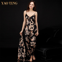 Spun Silk Women Sexy Pajamas Fashion Solid Couple Sleep set V neck Sleeves Silk Beautiful Lounge Female Sleep TZ013