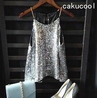 Cakucool Phụ Nữ Vàng Lurex tops Sáng Bóng Tanks Chuỗi Kim Loại Spaghatti Đảng Yếm Trong Ánh Sáng Lung Linh Tất Cả Sequins Tôn Tạo Hot bán Vest