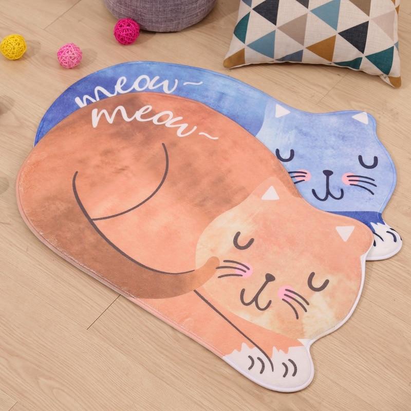 100% Wahr Cartoon Schlaf Katze Bad Matte Eingang Tür Matte Katze Gedruckt Bad Teppiche Fußmatten Für Wohnzimmer Anti-slip Wc Matte Hochwertige Materialien