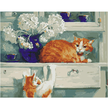 WEEN Two cats-Animal Abstract Painting By Numbers kit, Modern Wall Picture For Home Artwork,Diy Digital Paint 40x50cm