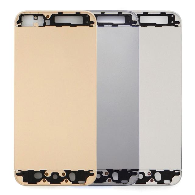 Reemplazo de la batería de metal cubierta trasera caso de la cubierta para el iphone 5s sin tapa y fondo de cristal
