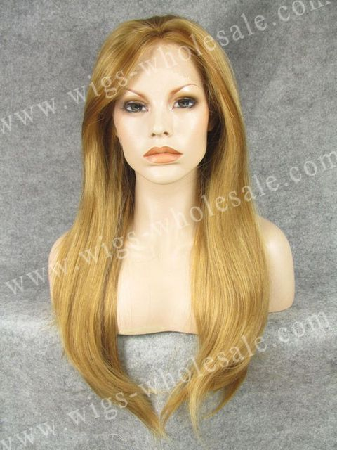 Fashionable Blonde High light Wig Natural Long Straight Synthetic Lace Front Wig