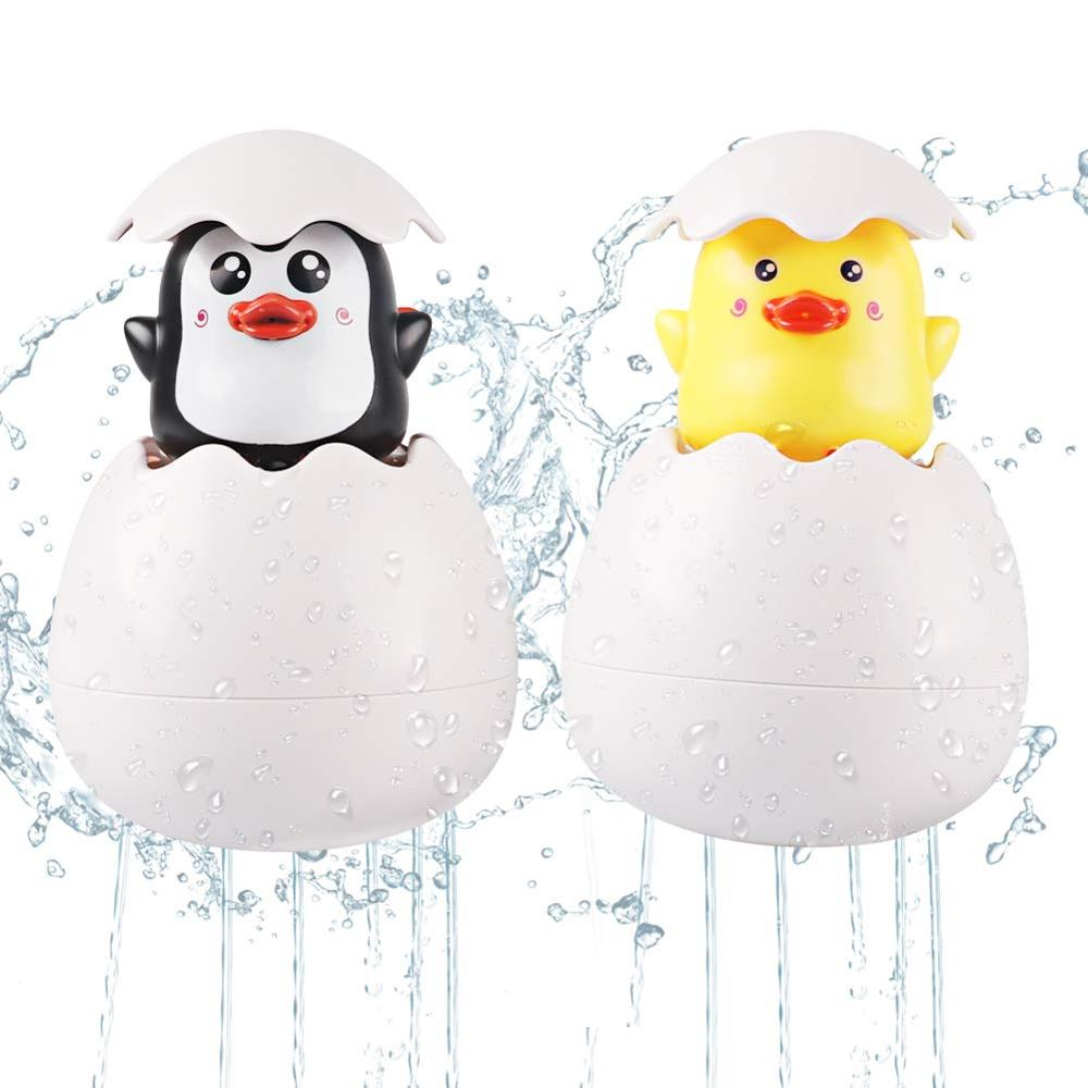 Baby Funny Bathing Toy Duck And Penguin Squirt Egg Spraying Swimming Water Toys Water Shower Tub Floating Toy  For Toddlers