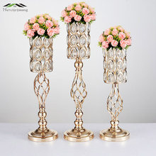 10PCS/LOT Metal Gold Candle Holders Road Lead Table Centerpiece Stand Pillar Candlestick For Wedding Candelabra Flowers Vases 69(China)
