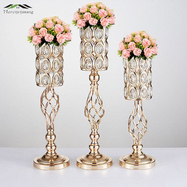 10PCS/LOT Metal Gold Candle Holders Road Lead Table Centerpiece Stand Pillar Candlestick For Wedding Candelabra Flowers Vases 69