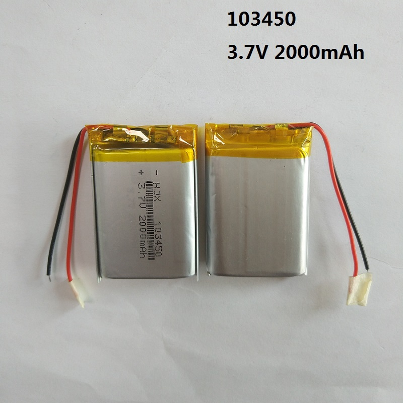 2 x 2000mAh 103450 Battery Li-polymer Rechargeable Batteries 3.7V for Model Toy GPS MP3 MP4 MP5 Cell Phone Speaker