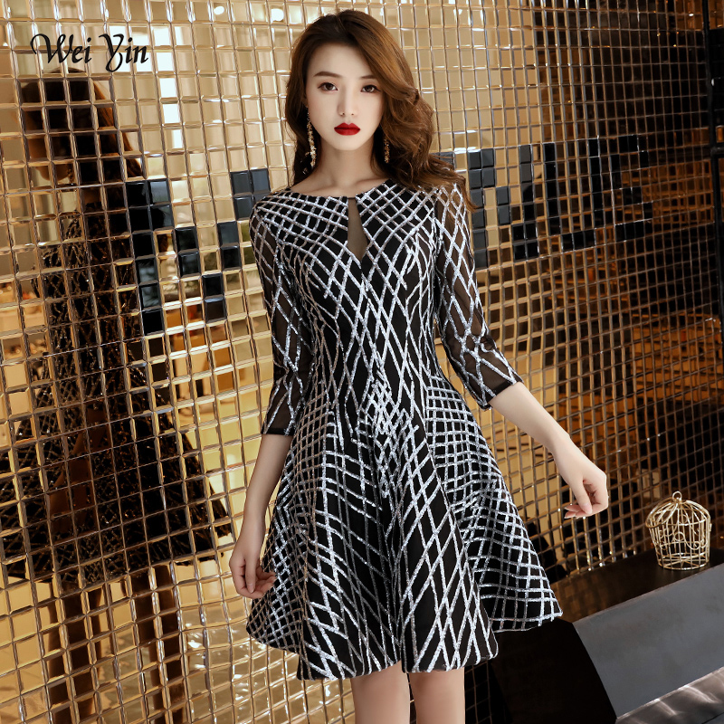 weiyin Silver Sequins   Cocktail     Dresses   2019 New Arrival Sexy A-line Spaghetti Party Gown Bodycon Vestido Coctel Corto WY1454