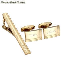 Personalized Master Free Engraving Custom Stainless Steel Cufflinks Tie Clip Bar Set for Mens Shirt Business Wedding Gift 3pcs