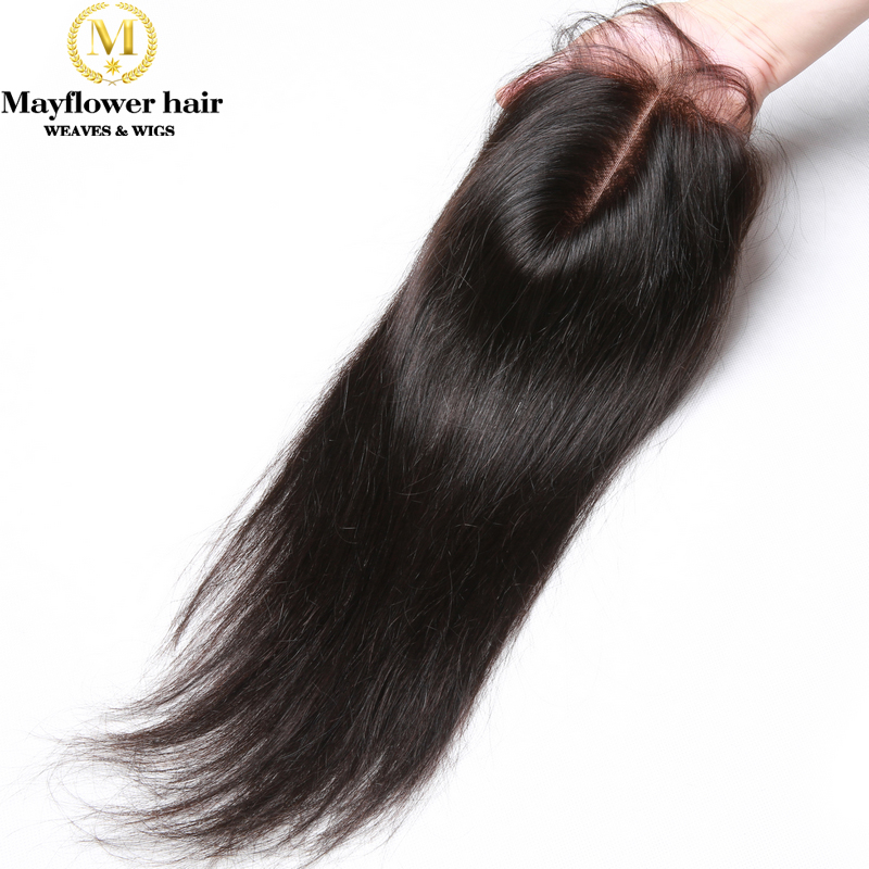 """Mayflower 4x4"""" Lace Closure Straight Virgin Hair With Baby Hair Natural Color Full Cuticle Malaysian Hair Closure 3 Kinds Part"""