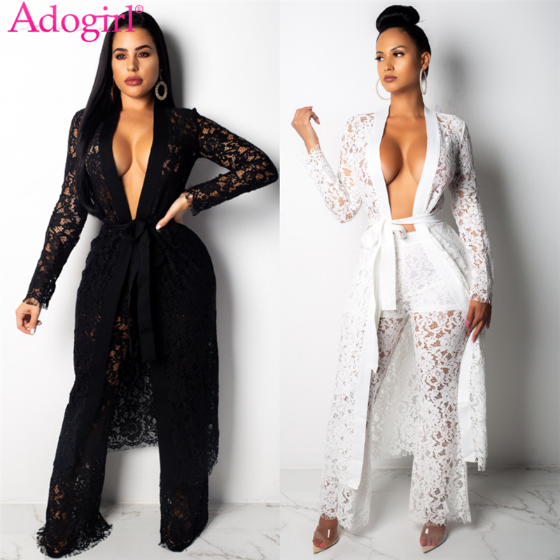 Adogirl Women Sexy Sheer Lace Two Piece Set Full Sleeve Extra Long Cardigan with Belt + Wide Leg Pants Casual Suits Club Outfits