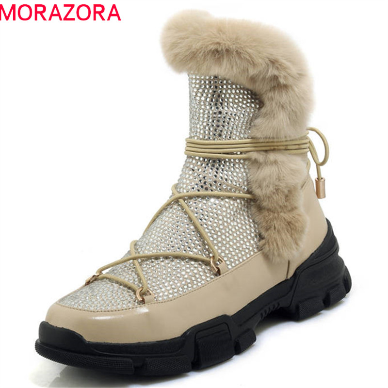MORAZORA 2018 new fashion style ankle boots for women round toe genuine leather boots zipper lace up platform shoes woman black morazora 2018 new arrival genuine leather ankle boots for women lace up zipper autumn boots fashion punk shoes woman black