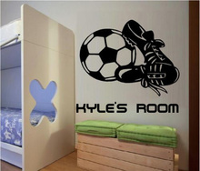 Free shiping / Football Boots Personalized Name Vinyl Kids Boys Wall Sticker Decal Mural decor sticker