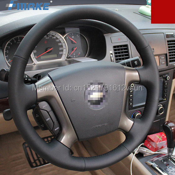 For Chevrolet Epica High Quality Hand-stitched Anti-Slip Black Leather Black Thread DIY Steering Wheel Cover