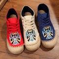Урожай Вышивка Квартиры Таиланд белье обувь Пекинская Опера ткань ручной работы Холст старый Пекин мягкий круглый Toe зашнуровать Обувь Одного
