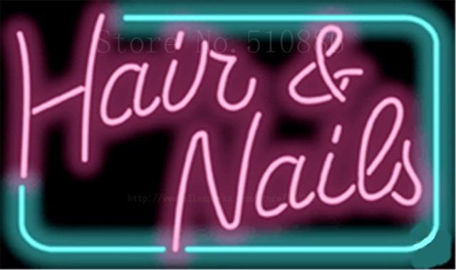 1714 Designer Hair And Nails Neon Sign Real Glass Beer Bar Pub