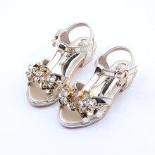 Enfants Sandales Femelle Enfants Filles D'été Chaussures Fleur Strass Princesse Chaussures Filles Petits Talons Hauts Brillant Parti Chaussures