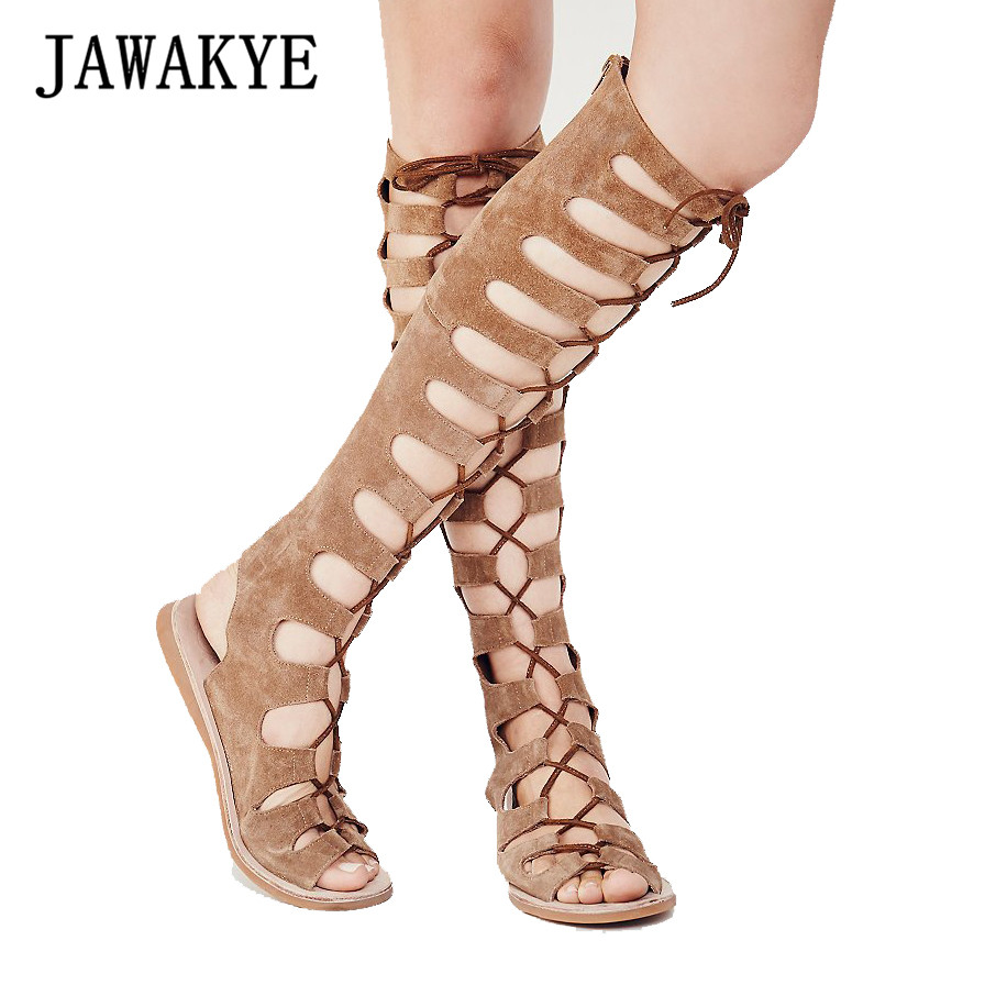 JAWAKYE Designer Lace up Gladiator Sandals Knee high boots women Flat heel Cut outs cross tied Elastic Suede autumn Women shoes 2015 new deluxe brand 100% high quality flat summer women knee high gladiator sandals genuine leather cut outs cover heel shoes