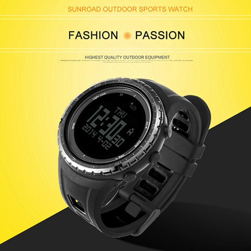 SUNROAD FR801B Professional Outdoor Sports Watch Compass Pedometer Digital Watch Altimeter Barometer LCD Display EL Backlight