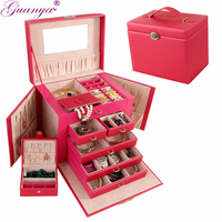 Guanya Brand Large Leather Jewelry Box Watch Beads Earrings Rings Accessory Storage Case Black White Red