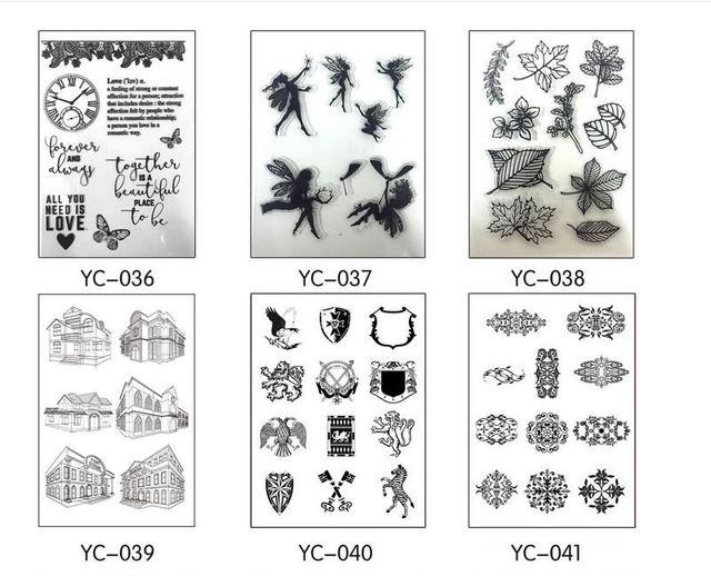 6 Стиль Прозрачные Резиновые Ясно Штамп Печать Листа Цепляться Скрапбукинг Украшения DIY Инструменты