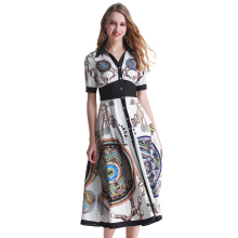 Fashion Runway Designer Dress Women V Neck Elegant Party Belted Wrap High Waist Floral Print Vintage Maxi Female Long Dress plus waist belted wrap chain print dress