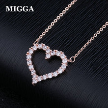 Фотография MIGGA Brand Fashion Heart Shape Necklace Zirconia Paved Party Jewelry Chain Necklace for Women Girl friend Gift