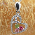 Natural Tourmaline Gems Stone Heart Necklaces & Pendants 925 Pure Sterling Silver Cubic Zirconia Micro Inlays Fine Jewelry