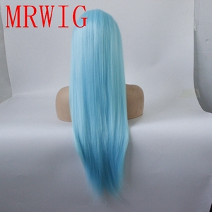 Image 4 - MRWIG Straight Synthetic Lace Front Wig Long Light Blue Hair Heat Resistant Middle Part 150%