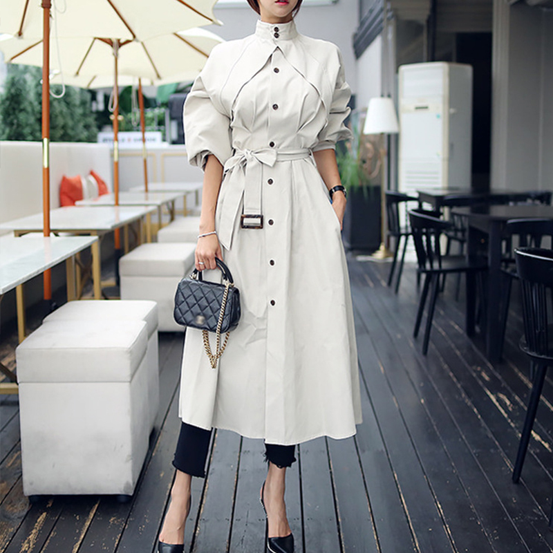 Korean New Arrival Holiday Long Thin Casual Trench OL New Fashion Comfortable Work Style Elegant Trend Beige Wild Trench