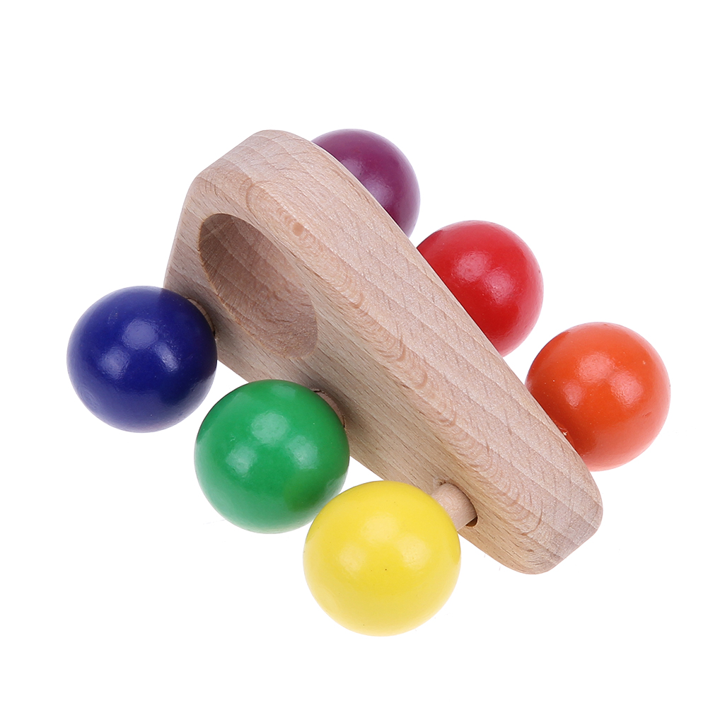 Kids Developmental Educational Funny Triangular Push Pull Quickly Move Car Toy Colored Wooden Ball Car Grasping Toy for Children