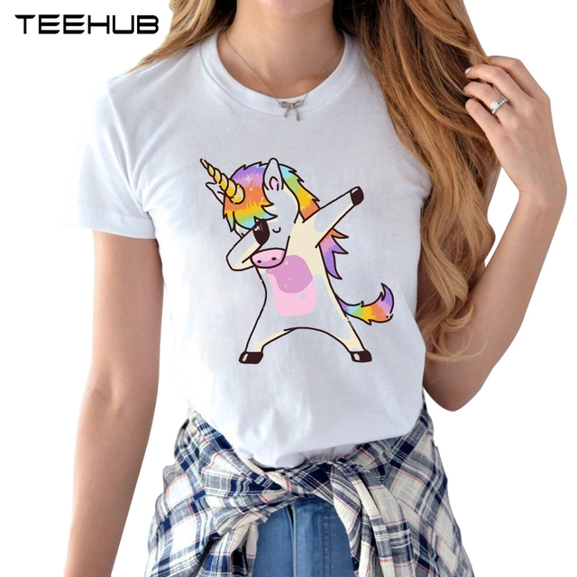 Dabbing Unicorn t-shirt Female 2018 Summer Woman Fashion Tops Ladies Tee  Shirts Casual Short