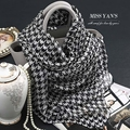 Genuine Silk Women Scarf Fashion Classic Black White Houndstooth Scarves 2016 Spring Summer Winter Good Quality Shawl