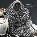 Seda Bufanda de Las Mujeres de Moda genuino Clásico Negro Blanco Houndstooth Mantón Bufandas 2016 Primavera Verano Invierno de la Buena Calidad