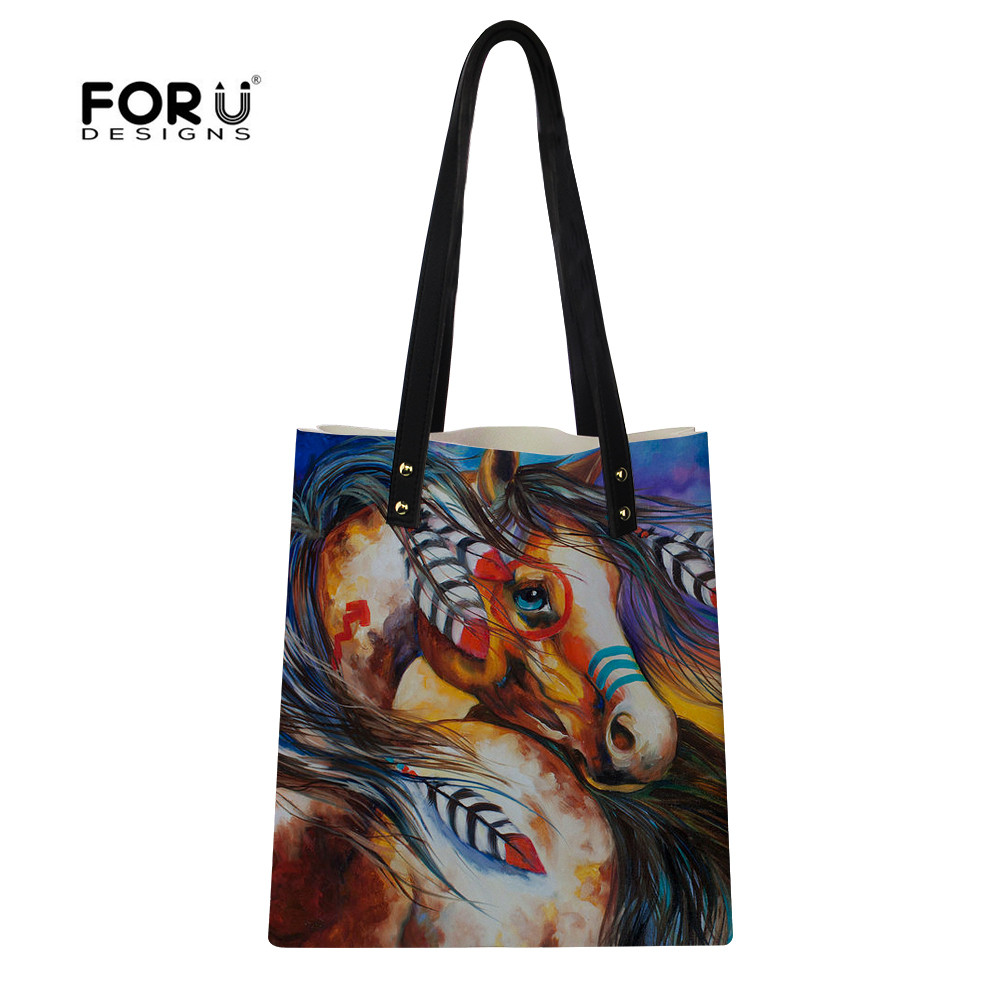 FORUDESIGNS Women Leather Shoulder Bag Horse Painting Fashion Large Totes Bags For Teenager Girls Casual Female Shopping Handbag