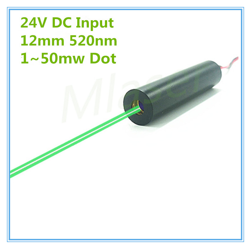 24V DC Input 1mw 5mw 10mW 30mw 50mw 520nm Green Laser Dot Diode Module DC Input 12mm Industrial Grade