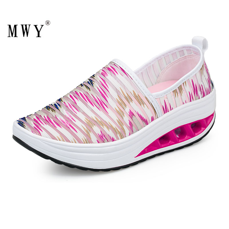MWY Breathable Net Yarn Casual Sneakers Colorful Striped Rocking Shoes Zapatillas Mujer Plataforma Thick Bottom Women ShoesMWY Breathable Net Yarn Casual Sneakers Colorful Striped Rocking Shoes Zapatillas Mujer Plataforma Thick Bottom Women Shoes