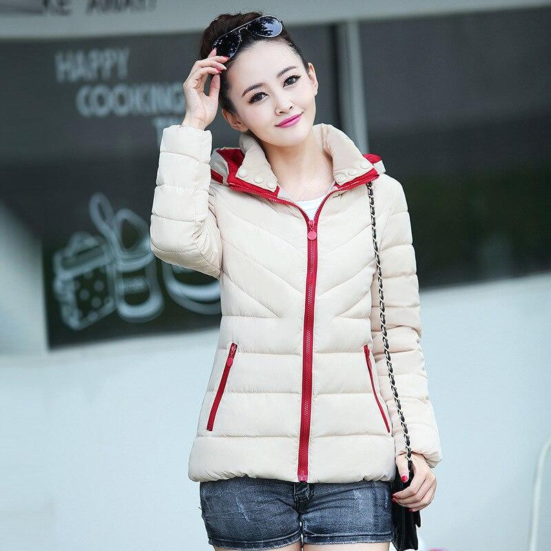 Hooded Women Winter   Parkas   Warm Slim Red Fashion Ladies Short Jackets Streetwear Cotton Warm Winter Coat Women Outerwear MDR105