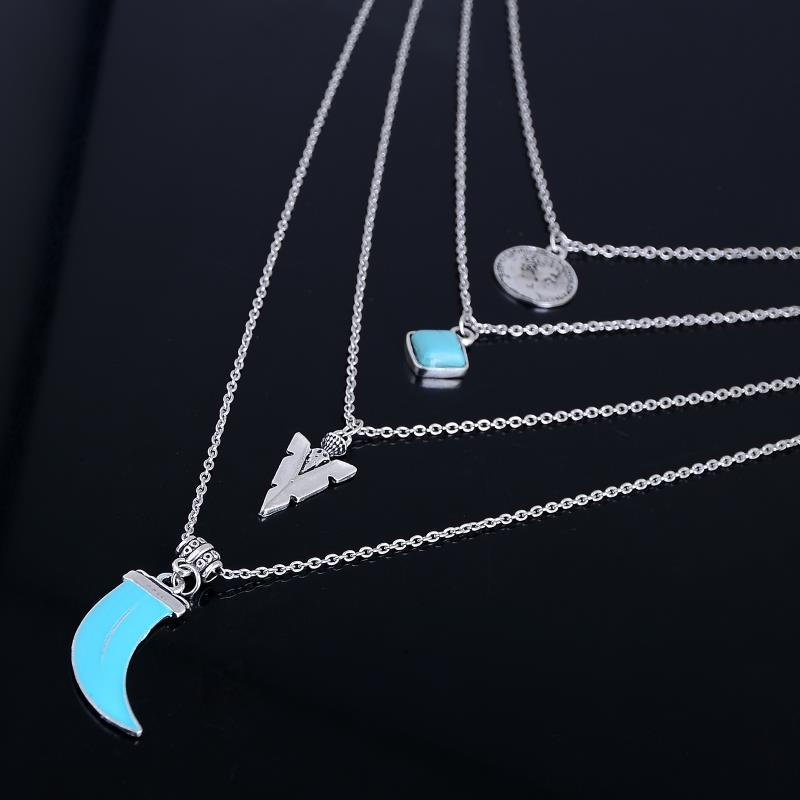 Bohemian Multilayer Natural Stone Pendant Necklaces for Women Antique Silver Color Ethnic Statement Jewelry