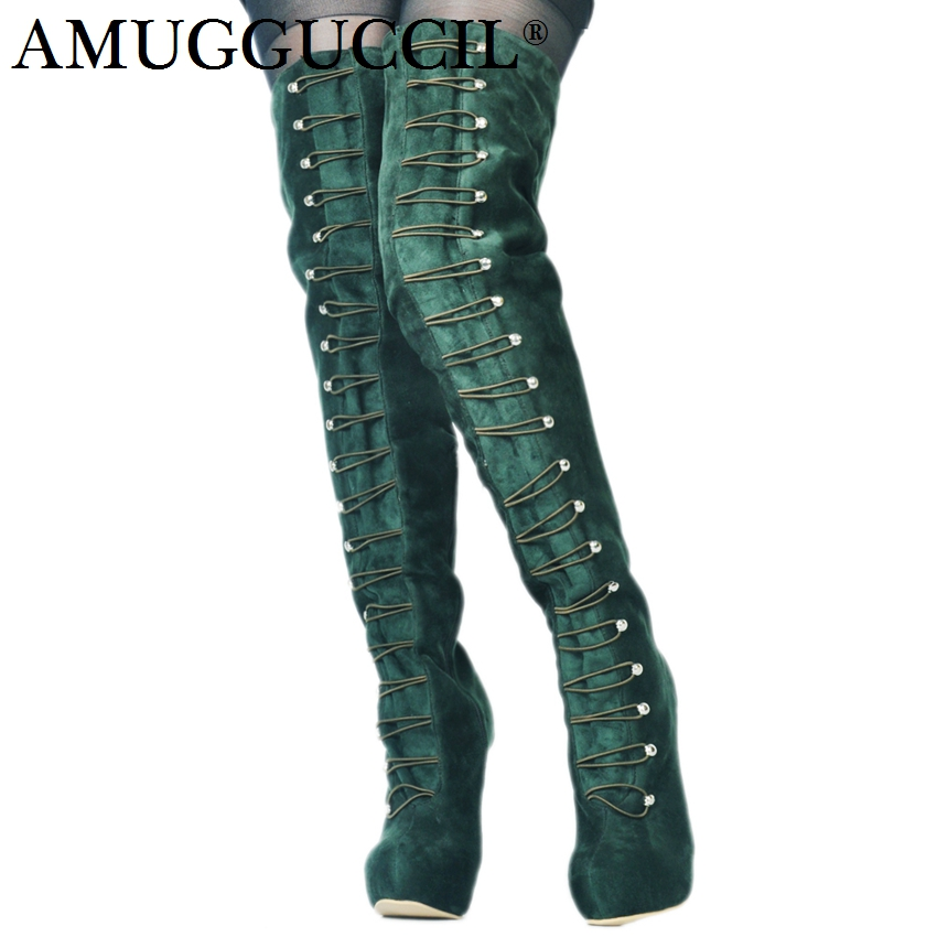 2018 New Plus Big Size 34-52 Army-Green Platform Over The Knee Thigh High Heel Autumn Winter FemaleLady Womens Boots X1693