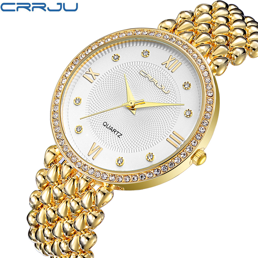 CRRJU Women's Watch Ultra Thin Stainless Steel Quartz Watch Lady Casual Hours Bracelet Watches Women Lover's Female Clock Gift